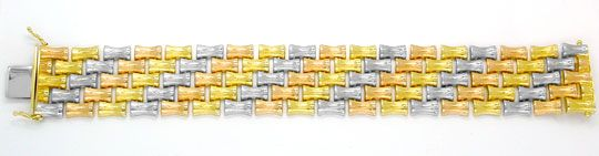 Foto 2, Designer Armband Tricolor handgraviert, 14K Luxus! Neu!, K2975