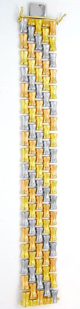 Foto 3, Designer Armband Tricolor handgraviert, 14K Luxus! Neu!, K2975