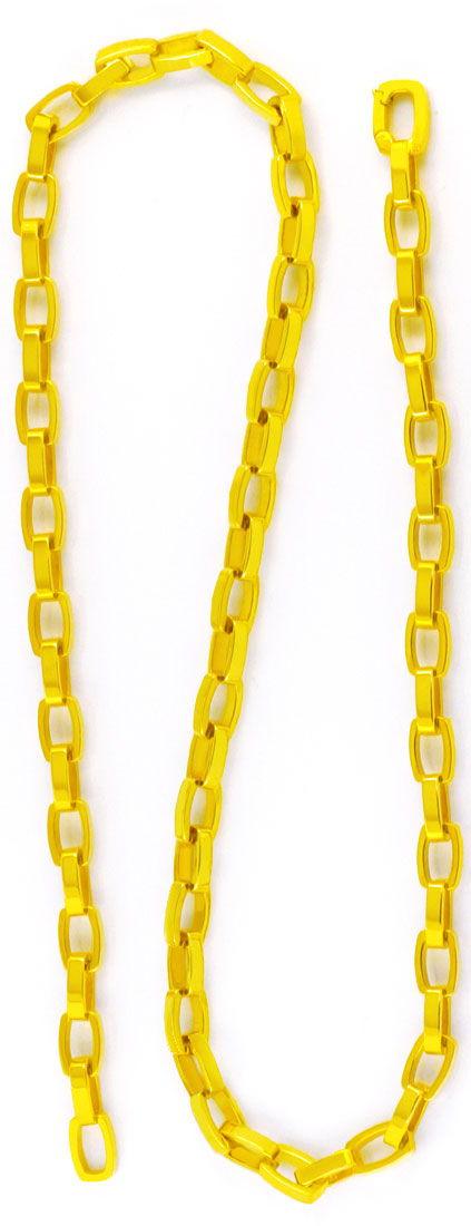 Foto 2, Designer Kette massiv Gelbgold Tonneaux 18K Luxus! Neu!, K2979