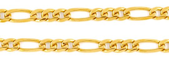 Foto 2, Figaro Goldkette massiv Gelbgold 50 cm 14K/585 Shop Neu, K2980