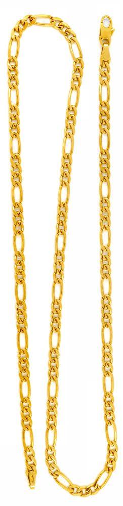 Foto 3, Figaro Goldkette massiv Gelbgold 50 cm 14K/585 Shop Neu, K2980
