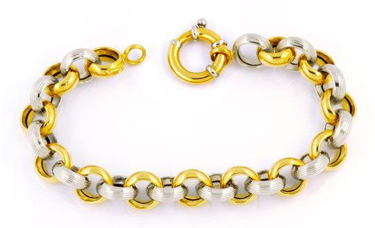 Foto 1, Armband 18K Gelbgold Weissgold, Riesen Federring Luxus!, K2995