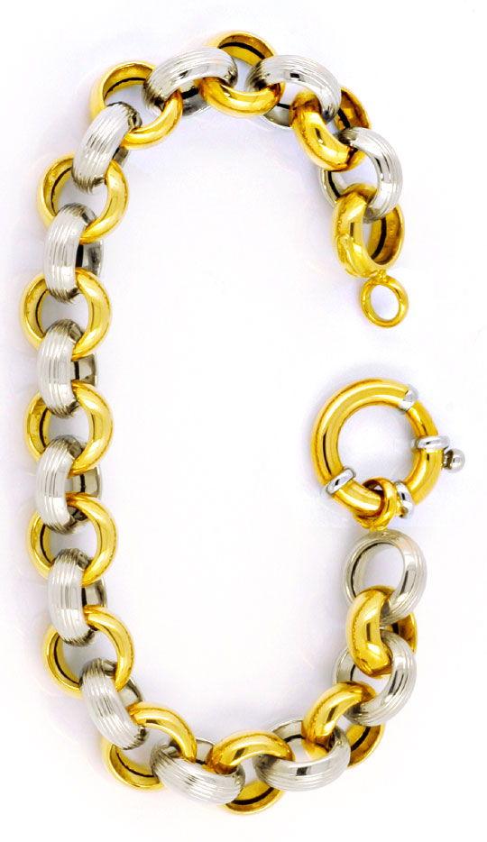 Foto 2, Armband 18K Gelbgold Weissgold, Riesen-Federring Luxus!, K2995