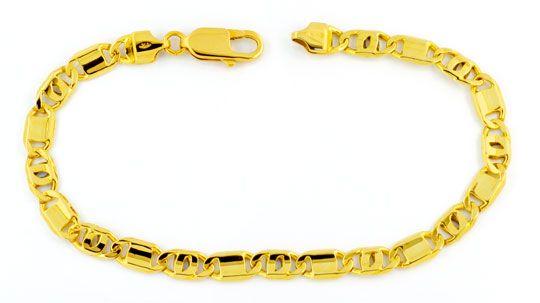 Foto 1, Gelbgold Armband 750, Pfauenauge Plättchen, Luxus! Neu!, K2997