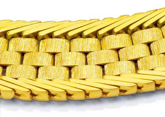 Foto 2, Gelbgold Kollier Kette Verlauf Teilgraviert 14K, Luxus!, K2998