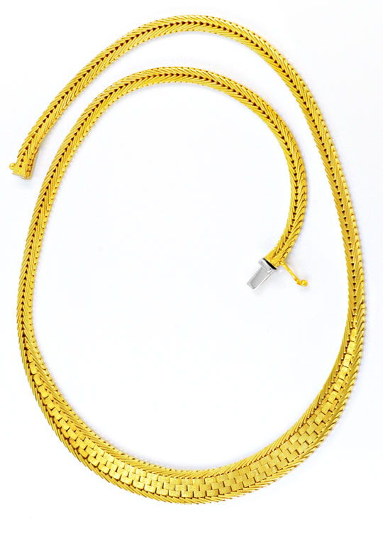 Foto 3, Gelbgold Kollier Kette Verlauf Teilgraviert 14K, Luxus!, K2998
