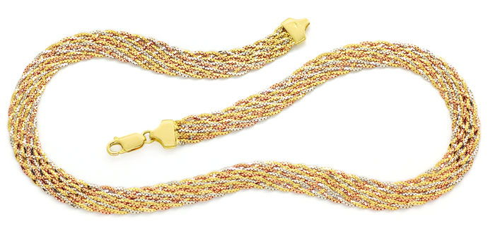 Foto 1, Designer Gold Kollier in massiv 18K / 750 Gold Tricolor, K3099