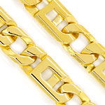 Goldkette mit Armband Figaro Stegpanzer Muster Gelbgold