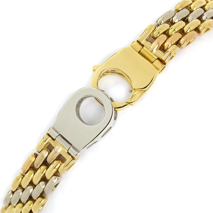 Foto 2, Armband Backstein Muster 18K Gelbgold Weissgold Rotgold, K3165