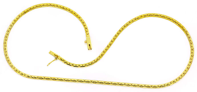 Foto 1, Collier Kette flaches enges Ankermuster in 14K Gelbgold, K3275