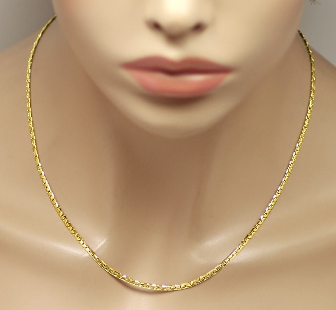 Foto 4, Collier Kette flaches enges Ankermuster in 14K Gelbgold, K3275