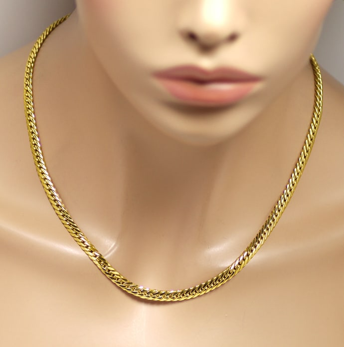 Foto 4, Goldcollier Flachpanzer Goldkette 41cm lang in 18K Gold, K3280