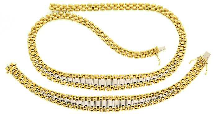 Foto 1 - Set Goldcollier und Goldarmband 18K Bicolor Gold, K3344