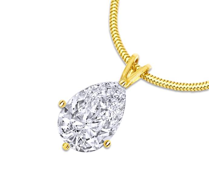 Foto 1, Diamant Tropfen 1,2ct River D Lupenrein Gelbgoldkollier, Q0040