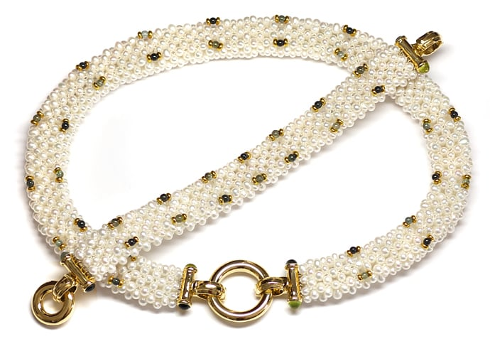 Foto 1, Perlen Kollier und Armband mit Peridoten Turmalinen 14K, Q0042