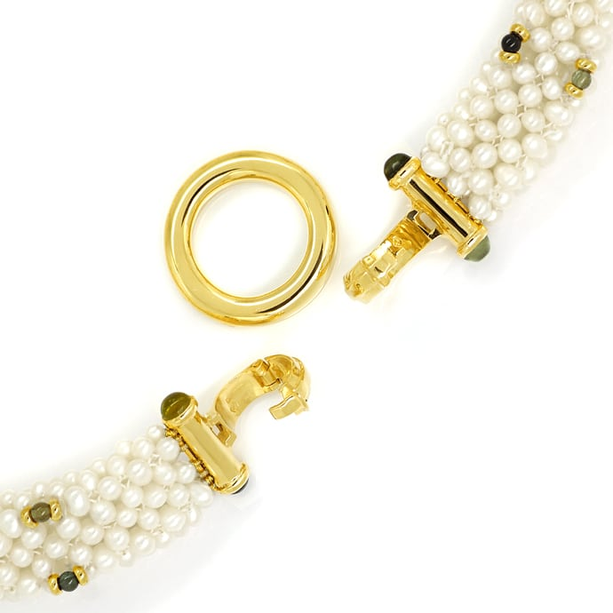 Foto 2, Perlen Kollier und Armband mit Peridoten Turmalinen 14K, Q0042