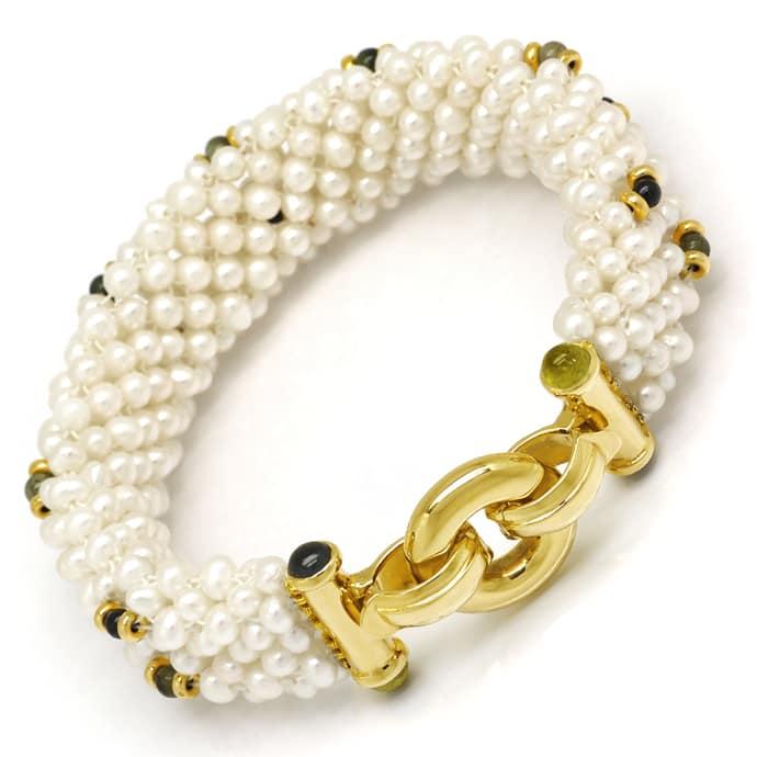 Foto 3, Perlen Kollier und Armband mit Peridoten Turmalinen 14K, Q0042