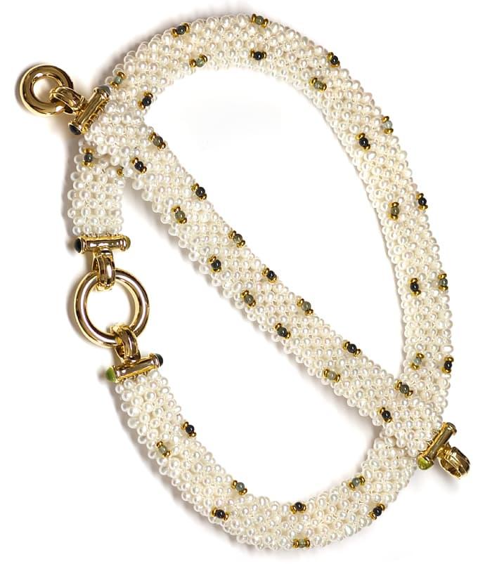 Foto 4, Perlen Kollier und Armband mit Peridoten Turmalinen 14K, Q0042