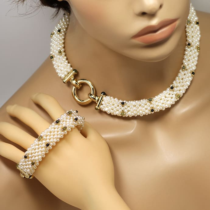 Foto 5, Perlen Kollier und Armband mit Peridoten Turmalinen 14K, Q0042