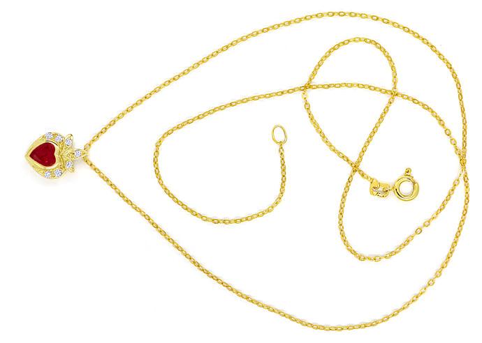 Foto 1, Goldkollier TOP Rubin Herz und Diamanten 585er Gelbgold, Q0046