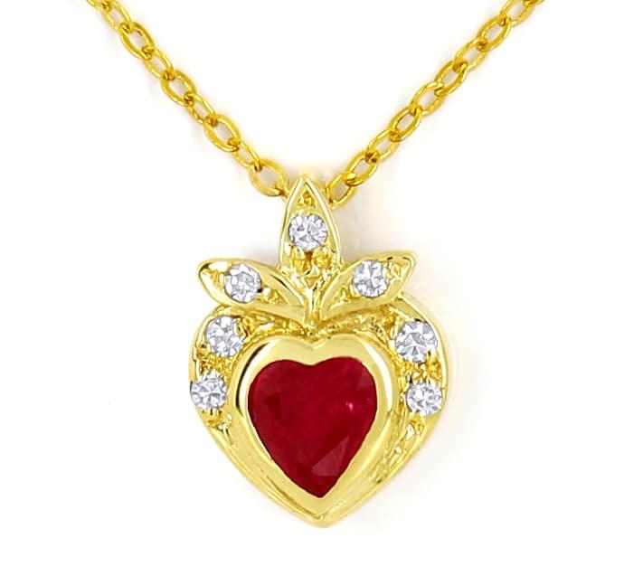 Foto 2, Goldkollier TOP Rubin Herz und Diamanten 585er Gelbgold, Q0046
