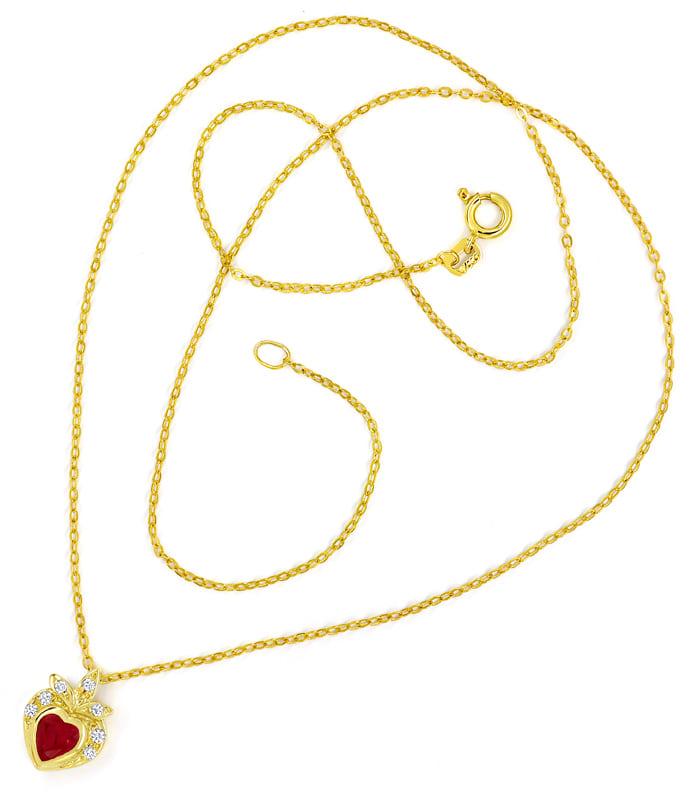 Foto 3, Goldkollier TOP Rubin Herz und Diamanten 585er Gelbgold, Q0046