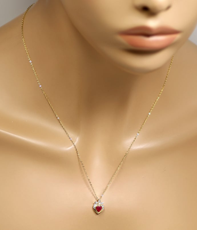 Foto 4, Goldkollier TOP Rubin Herz und Diamanten 585er Gelbgold, Q0046