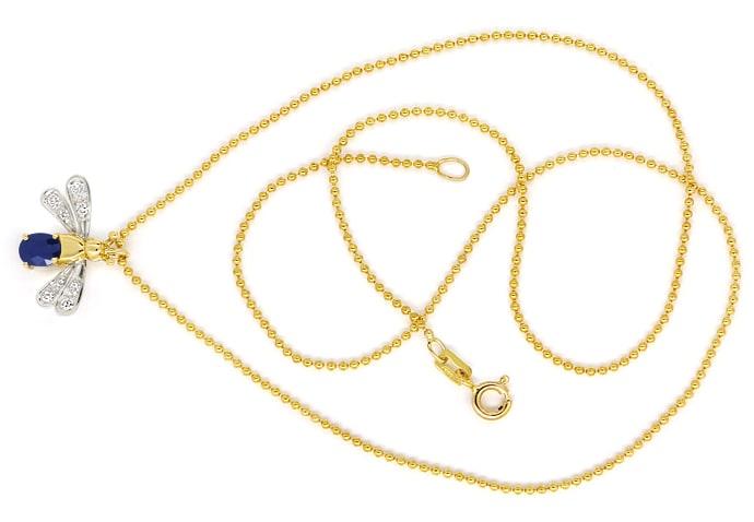 Foto 1, Goldkette mit Safir Diamant Flügeltierchen Anhänger 14K, Q0047