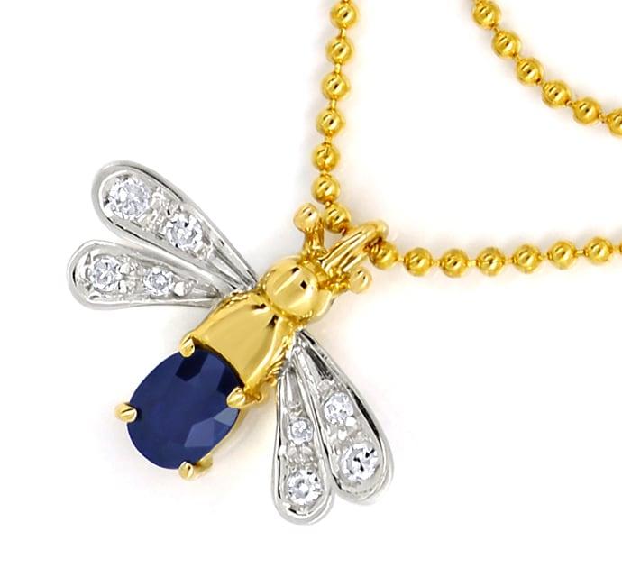 Foto 2, Goldkette mit Safir Diamant Flügeltierchen Anhänger 14K, Q0047