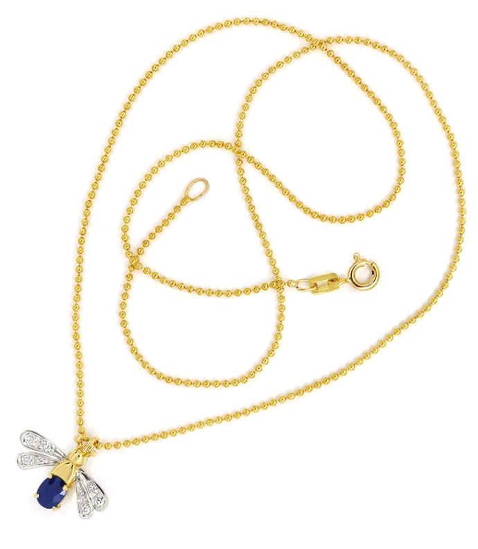 Foto 3, Goldkette mit Safir Diamant Flügeltierchen Anhänger 14K, Q0047