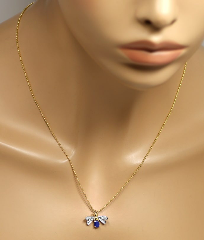 Foto 4, Goldkette mit Safir Diamant Flügeltierchen Anhänger 14K, Q0047