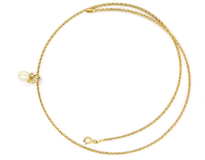 Foto 1, Zuchtperle und Diamanten Anhänger mit Kette in Gelbgold, Q0049