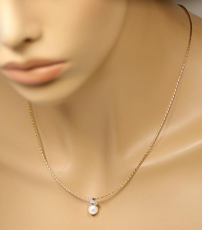 Foto 4, Zuchtperle und Diamanten Anhänger mit Kette in Gelbgold, Q0049