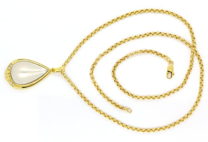 Foto 1, Kollier mit riesiger Tropfen Mabe Perle und Brillianten, Q0050