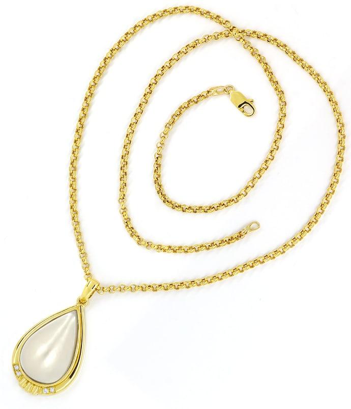 Foto 3, Kollier mit riesiger Tropfen Mabe Perle und Brillianten, Q0050