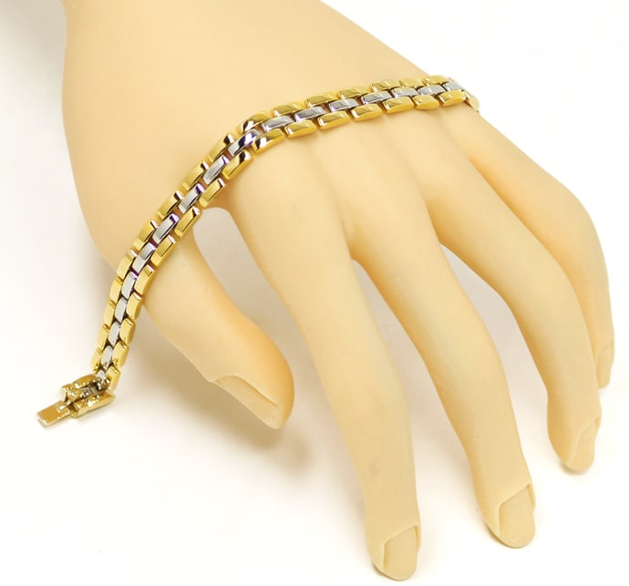 Foto 4 - Cartier Armband Maillon Panthere 3 Reihen in Stahl Gold, Q0055