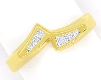 Foto 1, Diamantring mit Trapez und Baguette Diamanten, Gelbgold, Q0068