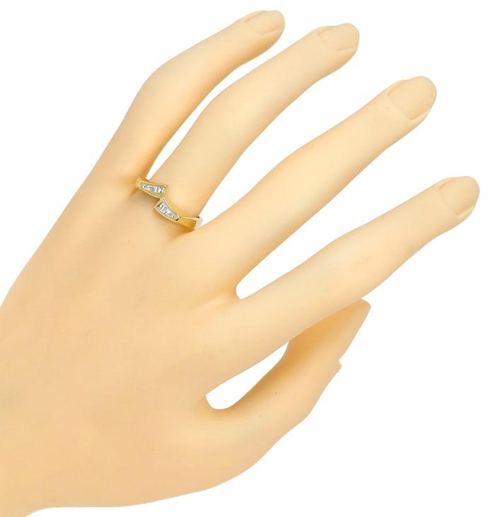 Foto 4, Diamantring mit Trapez und Baguette Diamanten, Gelbgold, Q0068