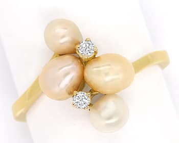 Foto 1, Perlenring mit 0,06ct Brillianten und 4 Perlen Gelbgold, Q0072