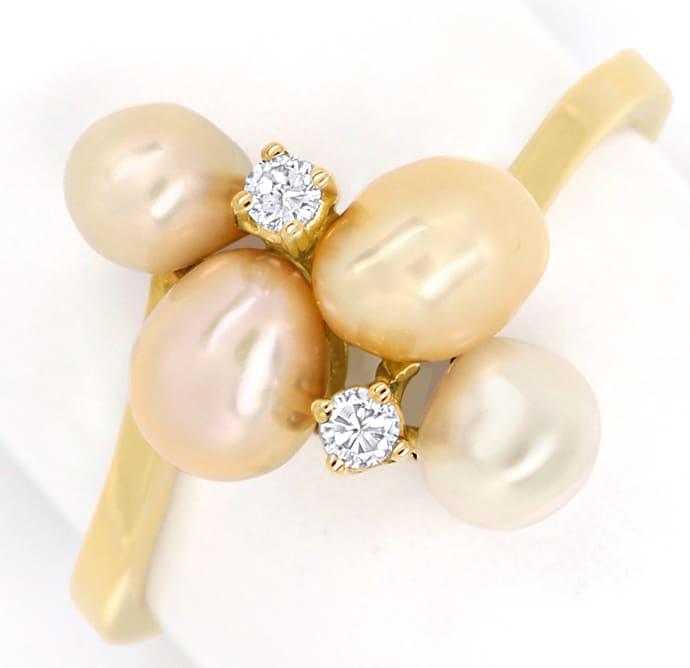 Foto 2, Perlenring mit 0,06ct Brillianten und 4 Perlen Gelbgold, Q0072