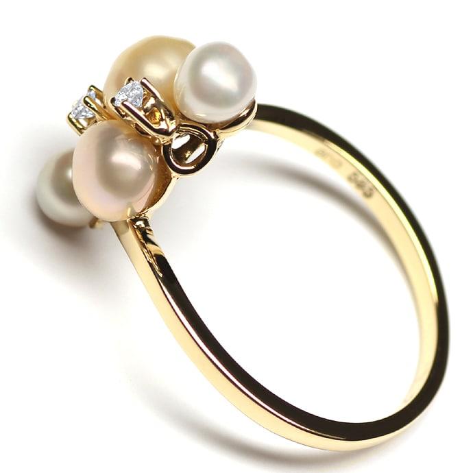 Foto 3, Perlenring mit 0,06ct Brillianten und 4 Perlen Gelbgold, Q0072