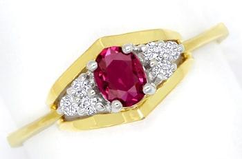 Foto 1, Diamantring mit 0,28ct Spitzen Rubin und Brillanten 14K, Q0077