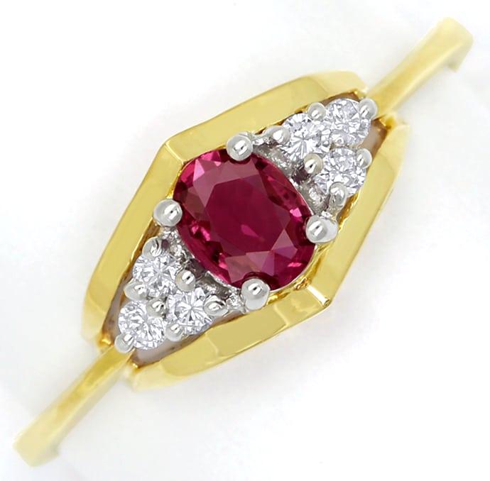 Foto 2, Diamantring mit 0,28ct Spitzen Rubin und Brillanten 14K, Q0077