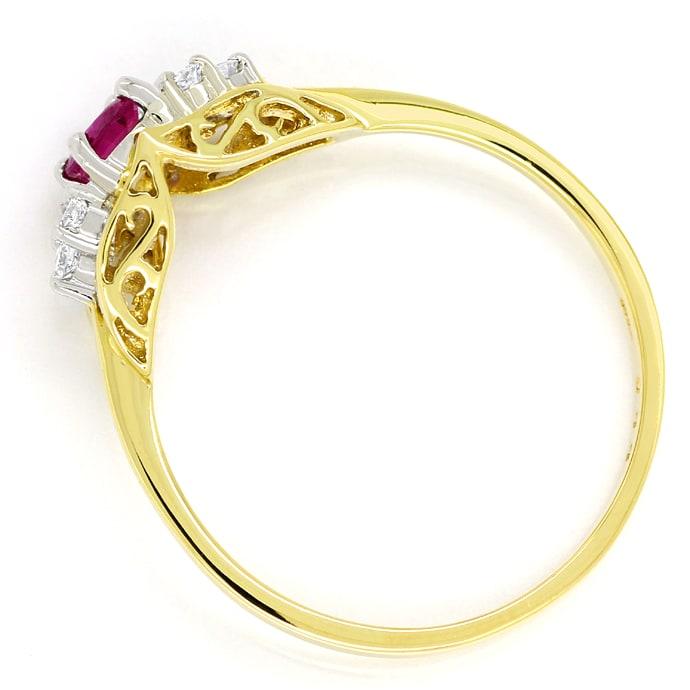 Foto 3, Diamantring mit 0,28ct Spitzen Rubin und Brillanten 14K, Q0077