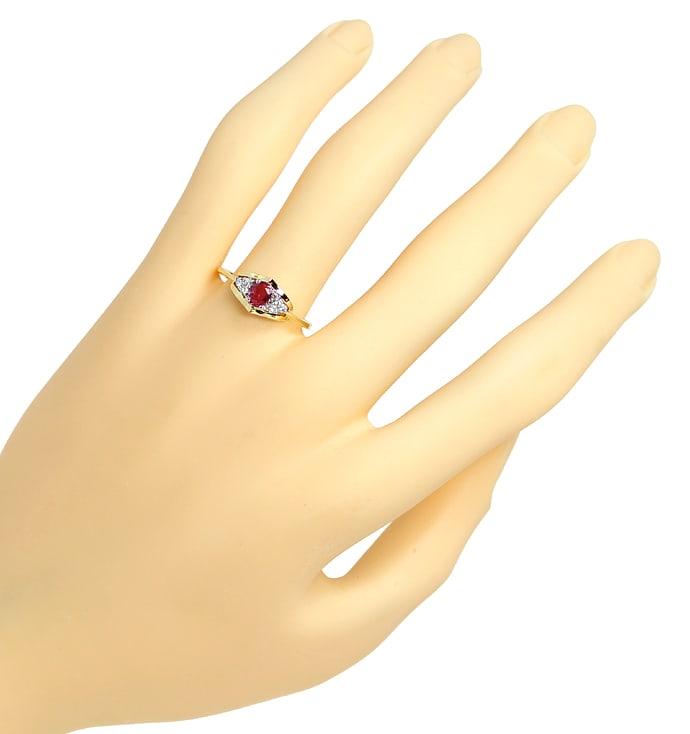 Foto 4, Diamantring mit 0,28ct Spitzen Rubin und Brillanten 14K, Q0077