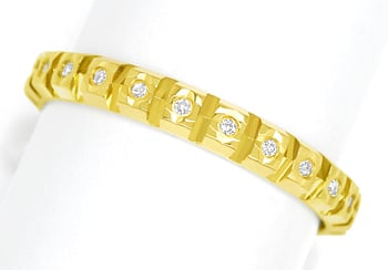 Foto 1, Vollmemoryring 23 Diamanten in zierlichem Gelbgold Ring, Q0080