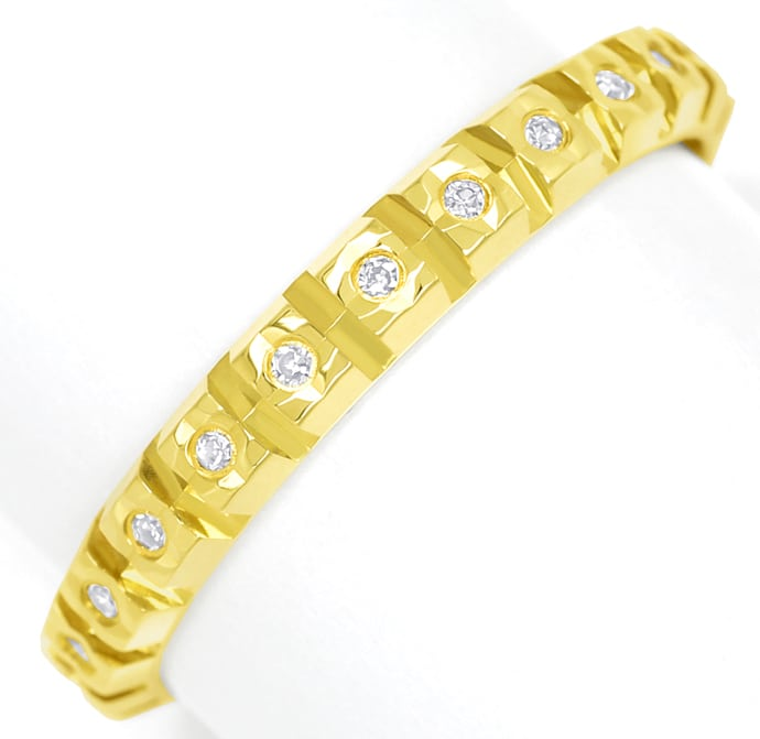 Foto 2, Vollmemoryring 23 Diamanten in zierlichem Gelbgold Ring, Q0080