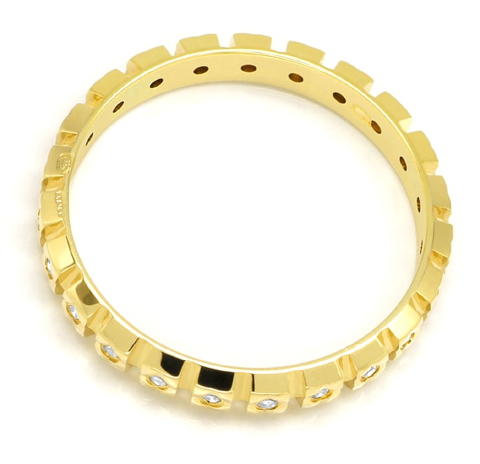 Foto 3, Vollmemoryring 23 Diamanten in zierlichem Gelbgold Ring, Q0080