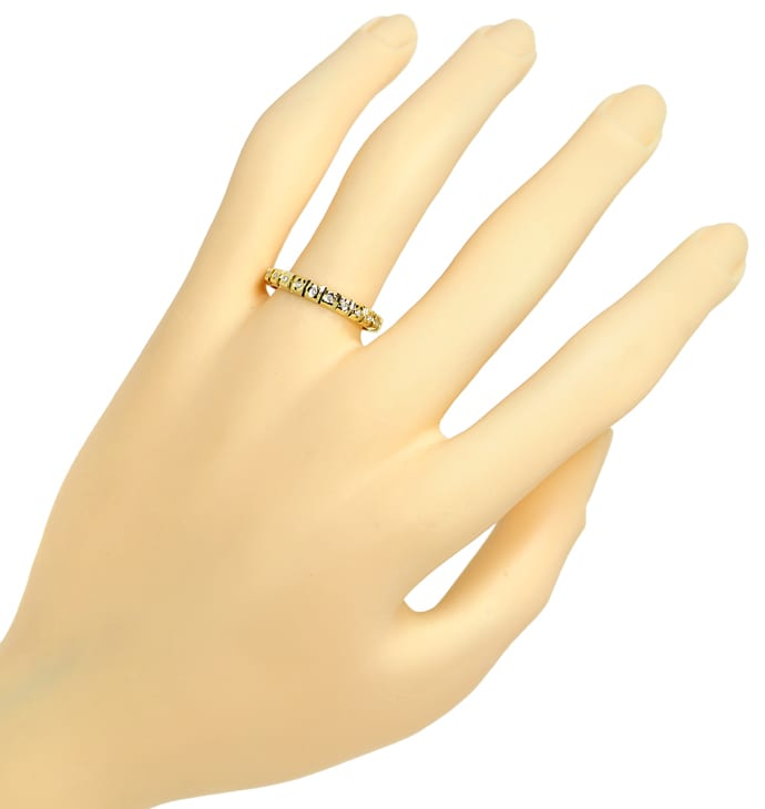 Foto 4, Vollmemoryring 23 Diamanten in zierlichem Gelbgold Ring, Q0080