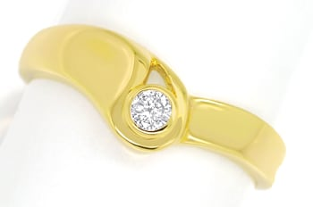 Foto 1 - Diamantring mit 0,09ct Brillant Solitär in 14K Gelbgold, Q0081
